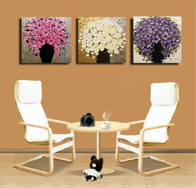 framed 3 panel large top palette knife textured flower painting