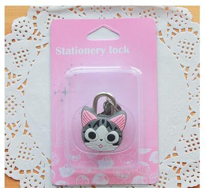 1X милый мультфильм Kawaii животные багажная сумка металлический замок журнал дневник пароль Блокировка файл держатель канцелярские принадлежности - Цвет: chis cat