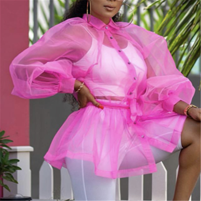 Women Blouses Shirts Tops Thin Tulle Transparent Lantern Sleeves Sexy See Through Elegant Ladies Fashion Casual Famale Blusas