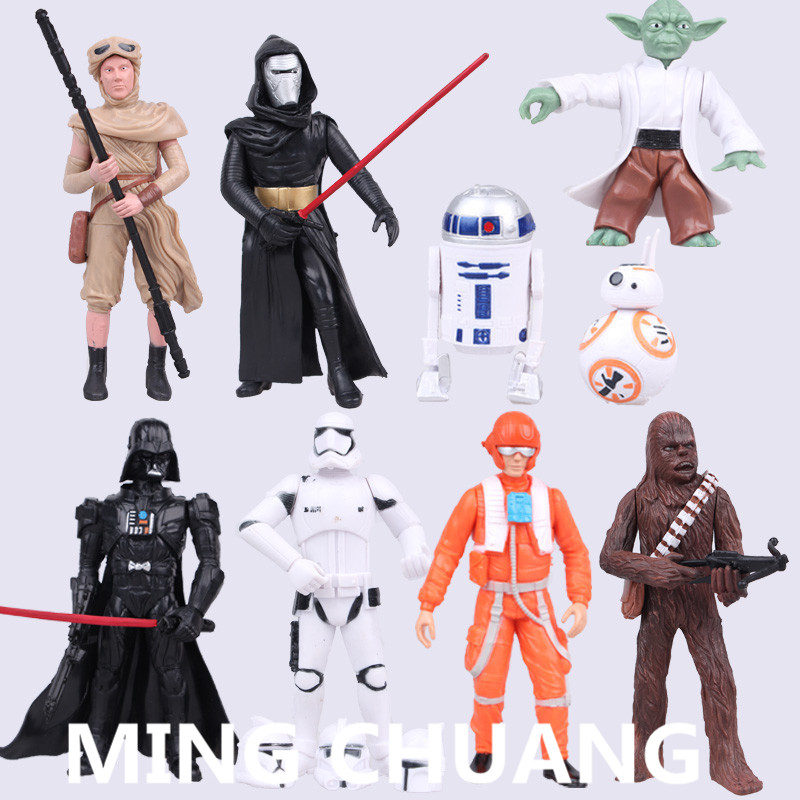 9pcs/set Star Wars Master Yoda Black Warrior Stormtrooper Action Figure Collectible Model Toy about 4-12cm Q18