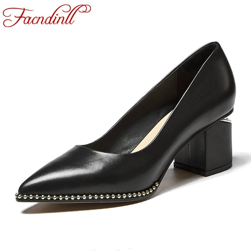 FACNDINLL new spring summer women pumps shoes genuine leather high heels pointed toe shoes woman dress party office shoes pumps facndinll shoes 2018 new fashion genuine leather women pumps med heels pointed toe shoes woman dress party casual black pumps