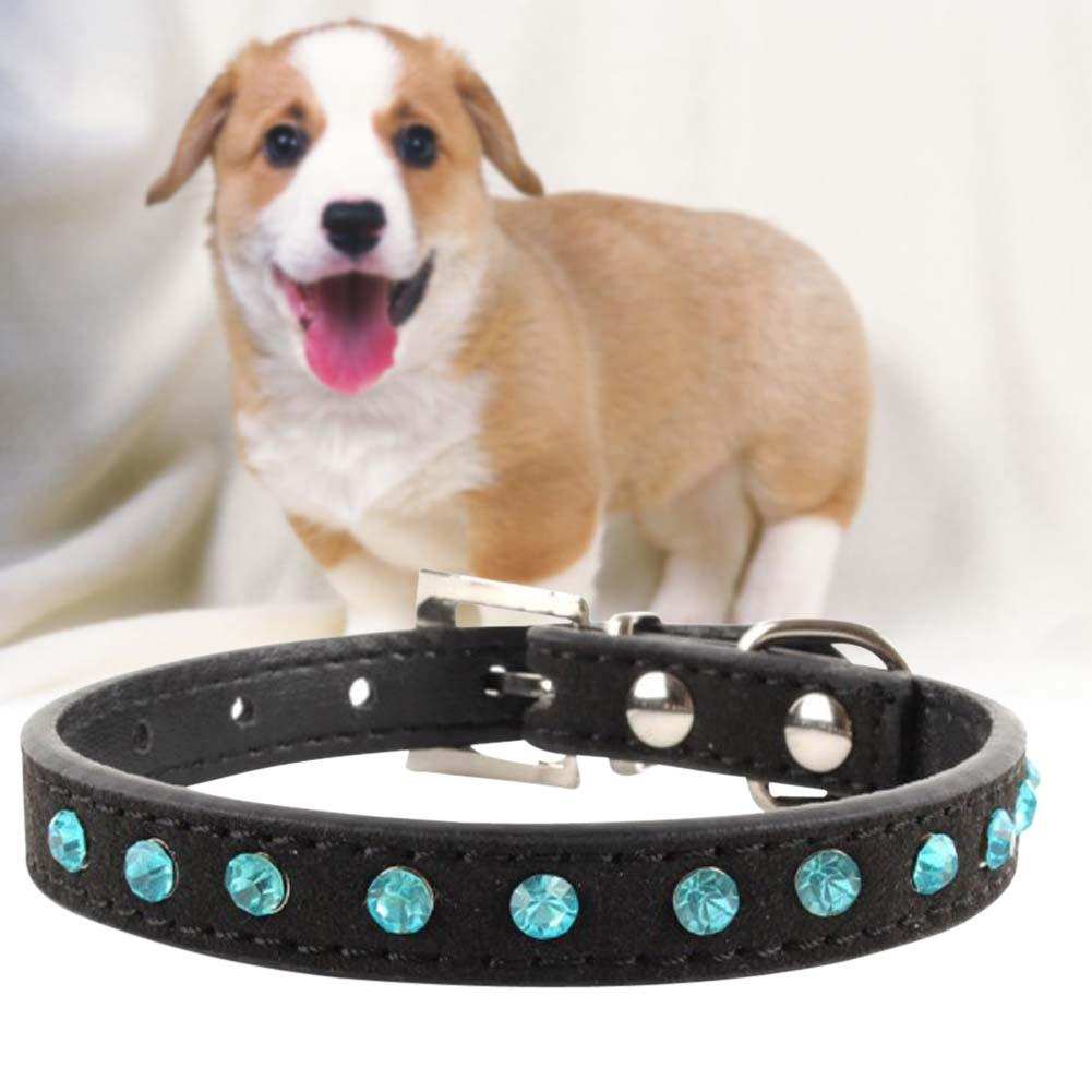 Hot Bling Crystal Rhinestones Leather Pet Dog Collars Puppy Cat Choker Necklaces Black S Adjustable Puppy Collar Buckle