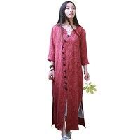 Original Jacquard Cotton Women Tops Chinese Style Clothing Female Long Shirt V Neck 3 4 Sleeve