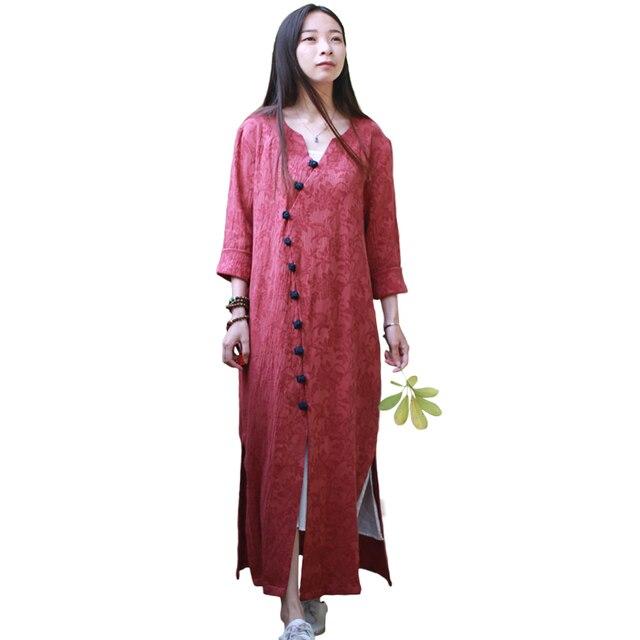 Original Jacquard Cotton Women Tops Chinese Style Clothing Female Long Shirt  V Neck 3 4 Sleeve Casual Blouses Tunic Vestidos d87b6340fc62