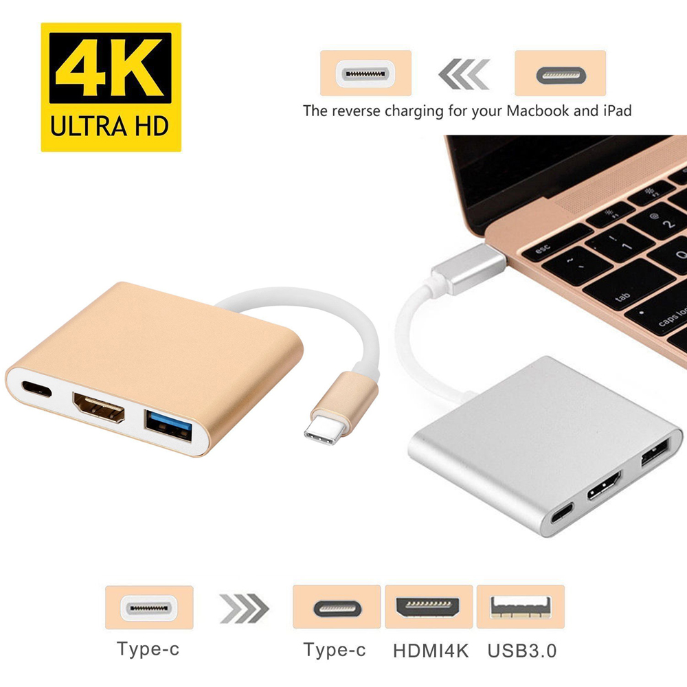 3 In 1 Type C to 4K HDMI USB 3.0 USB-C 3.1 Hub Charger Adapter For Apple MacBook