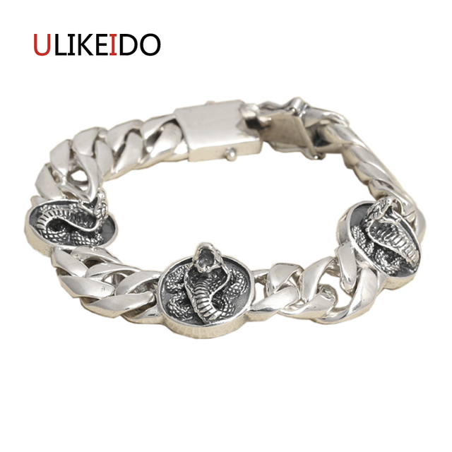 100 Pure 925 Sterling Silver Mens Snake Bracelets Fashion Clic Hand Chain For Men Special