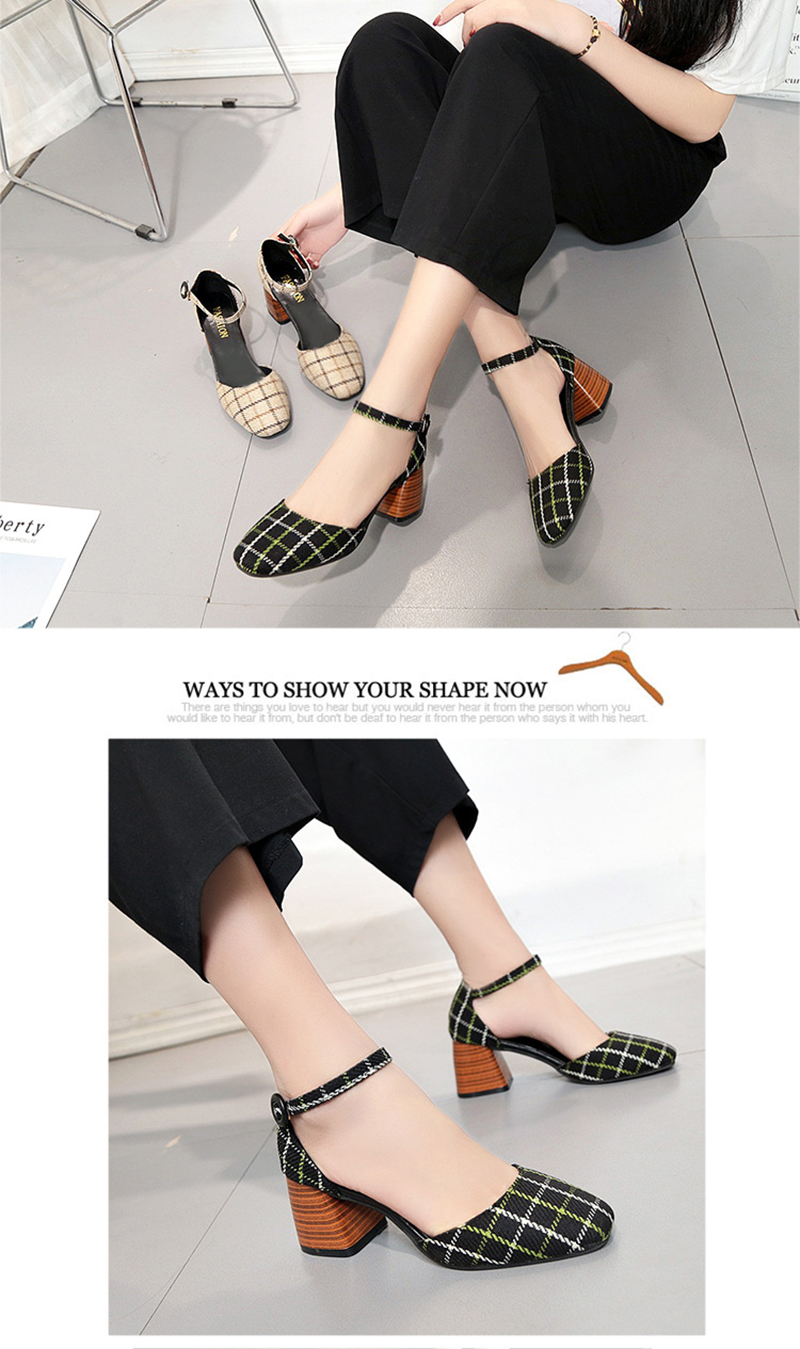High Heels Shoes Women Pumps Square Toe Summer Sandals Thick Heels Plaid Casual Good Quality Female Office Shoes Comfortable 11