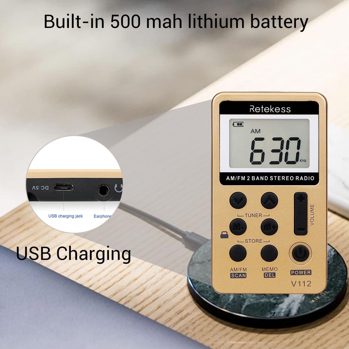 Image 5 - RETEKESS V112 Mini ręczne radio przenośne FM AM 2 zespół cyfrowy kieszonkowy odbiornik radiowy głośnik dla Walkman udać się na wycieczkęportable fmradio portableradio portable am fm -