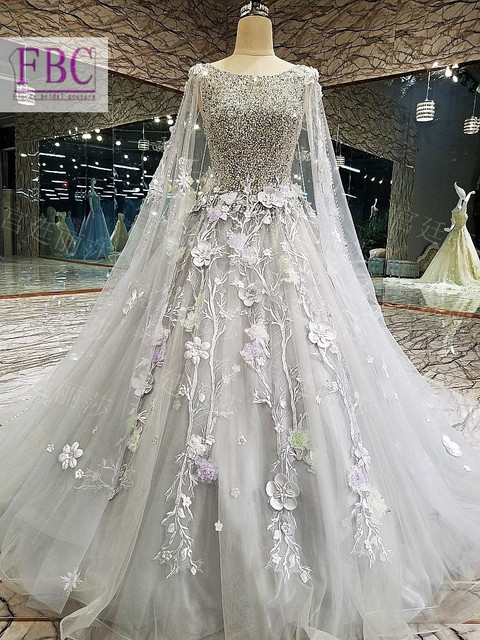 Gorgeous bling light grey wedding dress ball gowntulle for Light grey wedding dress