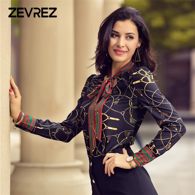 2018 Spring Women Fashion Blouse Bow Ribbon Striped Shirt Black Beige Casual Office Shirts Print Female Big Size Tops Zevrez