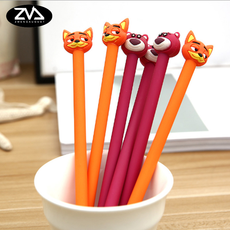 2pcs/lot Cartoon Creative kawaii Fox and beargel pen black gel pen creative Neutral pen School office stationery creative gift 3 pcs lot new cartoon colorful owl gel pen set kawaii stationery creative gift school office supplies 04085