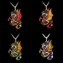 Gorgeous Antique Retro Gold Jewelry Dragon Pendants Long Sweater Character Necklaces Fashion Necklace For Women Modern Bijoux(China)