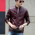 2016 spring leather clothing male short design stand collar slim thin leather jacket sheepskin casual outerwear 8832