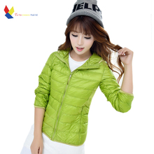 Women's Down Jacket 2016 Spring Autumn Korean Duck Ultra Light Solid Hood Parks Slim Black Thin For Winter Coat Large Size XXXL
