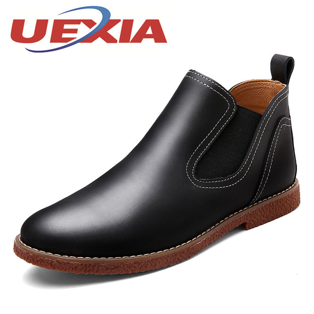 Men's Leather Breathable Solid Slip-On Boots High Top Casual Shoes