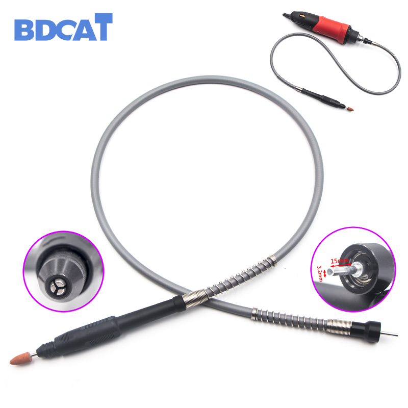 BDCAT Grinder Flexible Shaft Soft Flex Shaft with 0.3-3.2mm Drill Chuck Handle For 180W and 400W Dremel Electrical Tools 6 60mm hss step cone drill bit hole cutter set 12 steps metric step drill wood plastic metal drilling shank dia 13mm