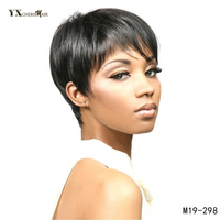 YXCHERISHAIR Women S Short Wigs Natural Black Hair Synthetic Straight Cosplay Wigs Perruque Air Bangs None