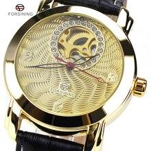 2016 Para Mujer Relojes de Lujo Superior Marca Forsining Diamond Diseñador Horloge Mecánico Correa de Cuero Relojes de Pulsera de Moda Femenina