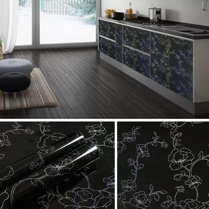 60*500cm Stained Furniture Sticker Kitchen Cabinet Wall Self Adhesive Wallpaper Wardrobe Home Decoration