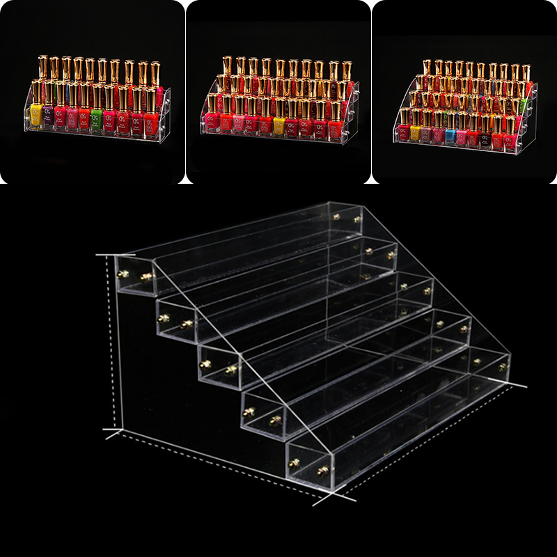 1 Pc 2-5layers Removable Rack Acrylic Clear Nail Polish Cosmetic Varnish Display Stand Holder Manicure Tool Organizer Storage