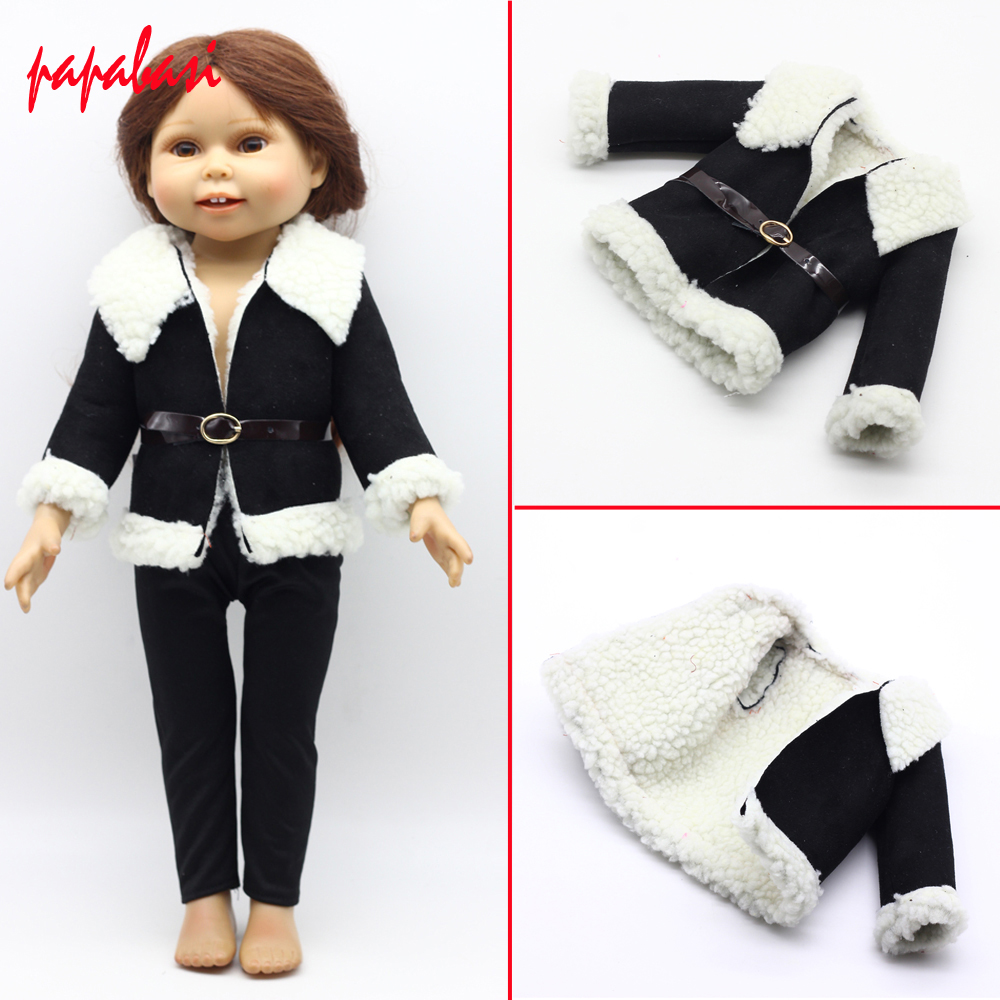 Black Wool Coat Doll Clothes With Belt for 18 American Girl Doll