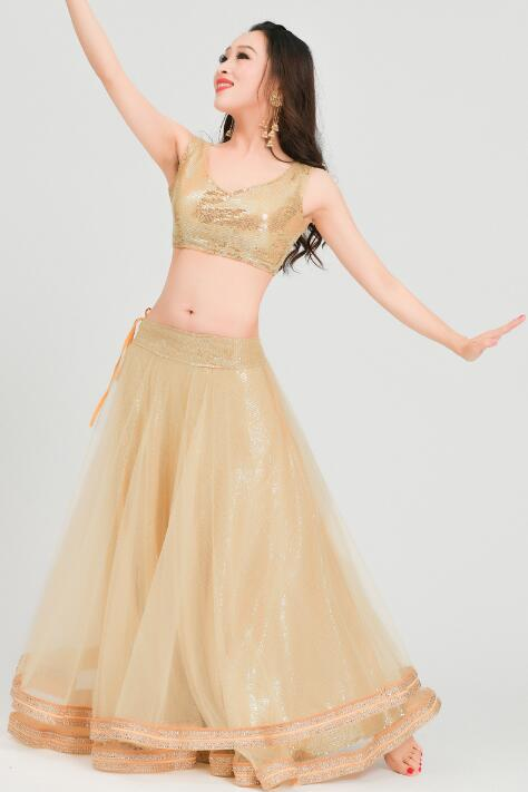 India Sarees Woman Beautiful Dance Costume India Style Performance Gorgeous Set