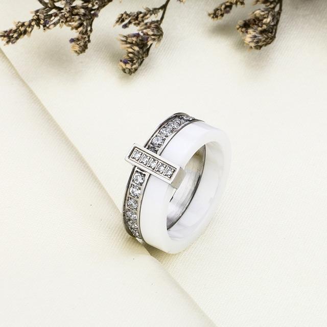 Nero Anello In Ceramica Bianca Con Una Riga In Australia Zircone Due Strati In Acciaio Inox Argento Sottili Anelli di Fidanzamento per Le Donne