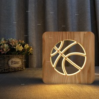 wood Basketball Sport 3D Night Light Novelty LED Style Basketball 3D USB LED Lamp Love Sport Boy