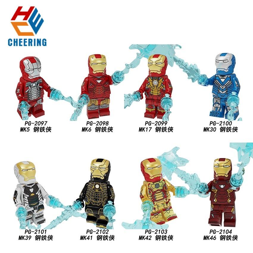 Single Sale Building Blocks Super Heroes Iron Man Mark 17 Mark 20 Spider Man Bricks Action Figures For Gift Children Toys PG8246(China)