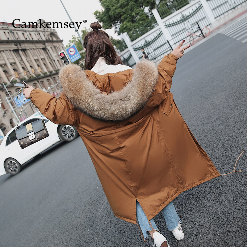 CamKemsey Fur Collar Hooded Winter Coat Women Long Jacket Warm Thick Cotton Parkas Female women winter coat leisure big yards hooded fur collar jacket thick warm cotton parkas new style female students overcoat ok238