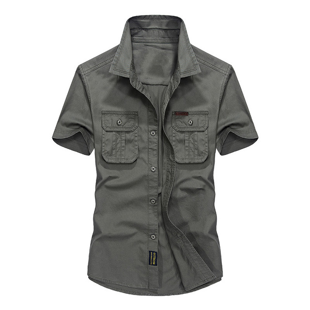 Gli Stile degli uomini Camicie Camicia del Cotone 100 Militare Per zwZdXqAx4