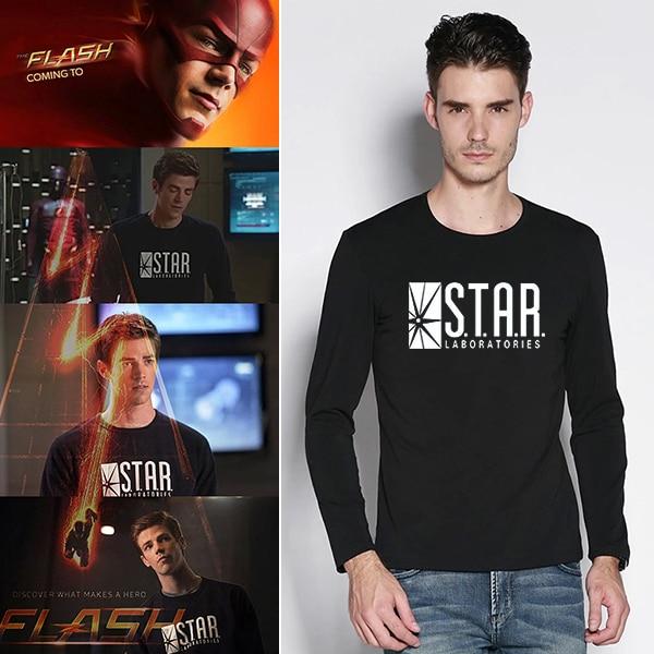 Mens Black Star Lab Letter Print Long Sleeve T Shirt Men Novelty T-shirt Man Tshirt Boys Clothes Anime Comics The Flash Arrow