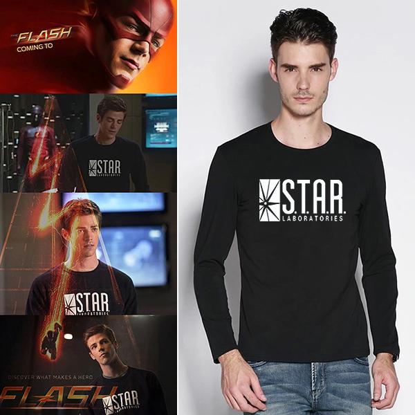 Mens negro estrella laboratorio carta impresión de manga larga camiseta hombre de la novedad camiseta hombre camiseta de los muchachos de la ropa del Anime Comics The Flash flecha