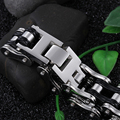 Heavy 107g weight Titanium steel Silver Black Biker bicycle Motorcycle Chain Bracelet Large Cool Men Jewelry  Bling 8.66''