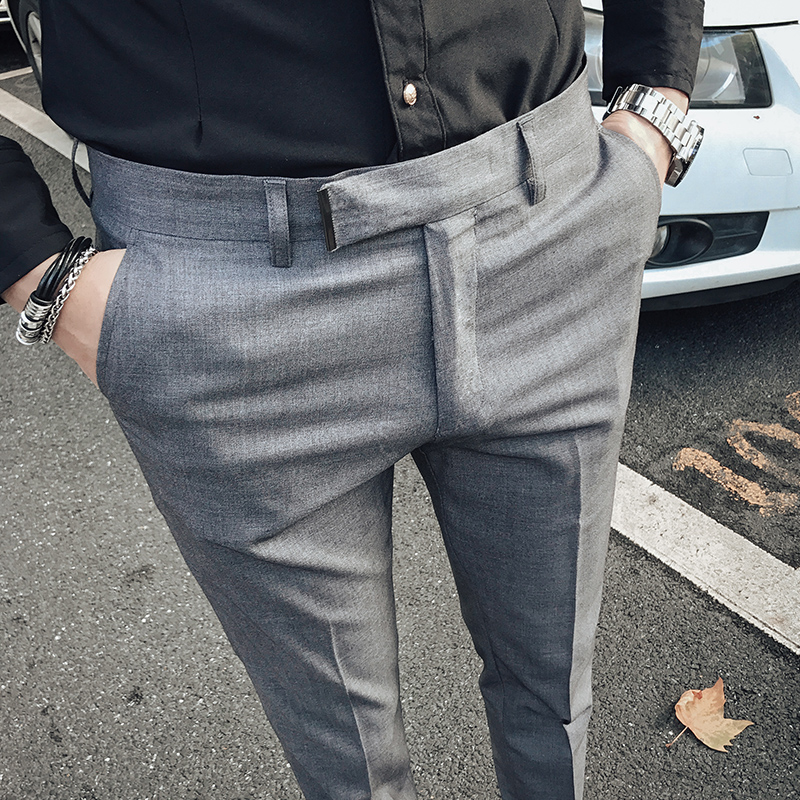 Trousers Men Pants Suits Business-Suit Retro-Style Black British Men's Gray Blue And