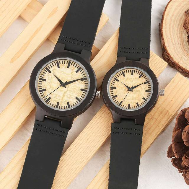 Couple Watches Dark Bronw Case Yellow Dial Wooden Watch Modern Bamboo Quartz-watch Hand-made Wooden Watches Soft Leather Band