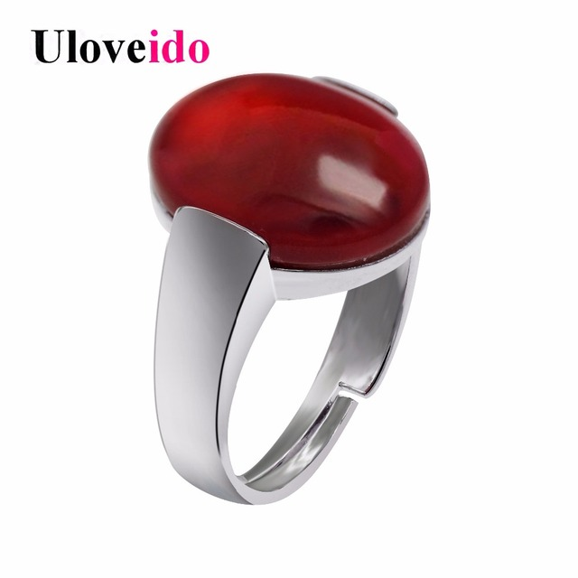 Uloveido Red Green Oval Rings for Women Cubic Zirconia Crystal Ring Female Women