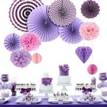 12pcs/set Valentine Decorations Purple Pink  Accordion Paper Fans Pom Poms Honeycombs Happy Valentines Day