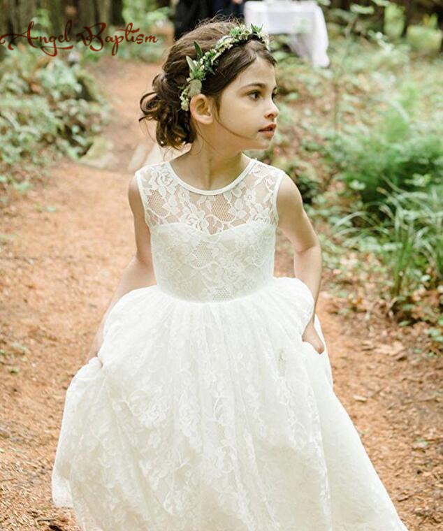 Sexy open back ivory sheer lace Beach Flower Girls Dresses For Wedding Cheap Summer Style Boho Jewel Long Baby little Kids Gown