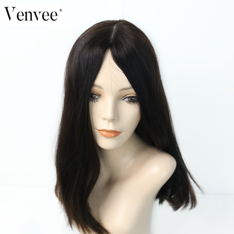 Jewish Wig Double Drawn Kosher Wig European Remy Hair Straight Human Hair Wigs Silk Base 4# Color Wig Pre Colored Venvee