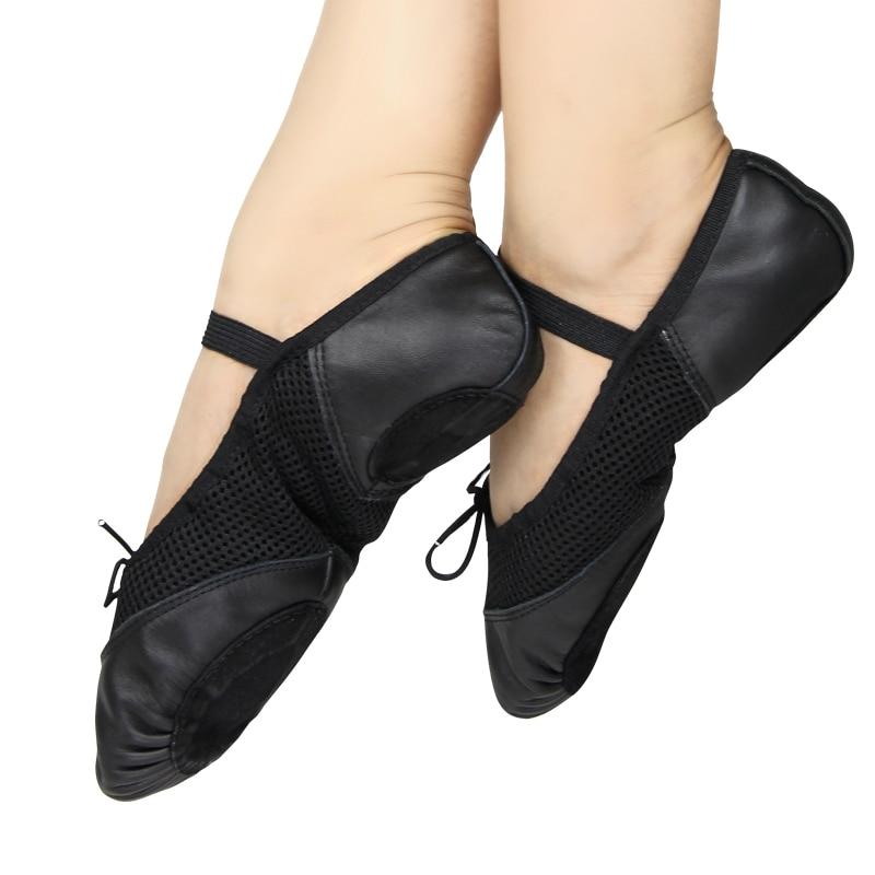 Chaussures de danse en cuir respirant pour enfants chaussures de yoga creuses ballet fille griffe de chat chaussures de danse à fond souple