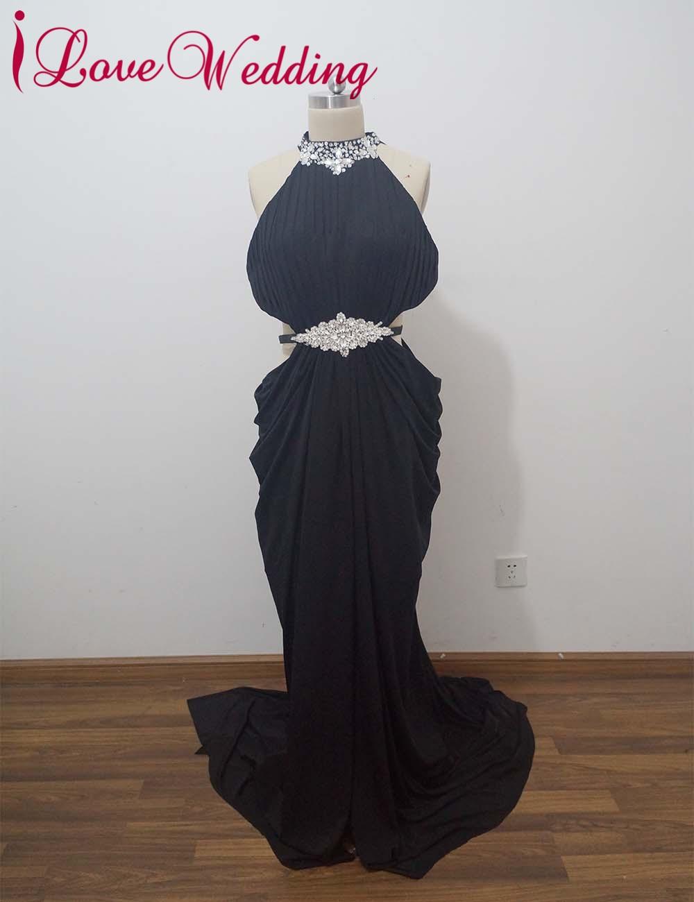 iLoveWedding Mermaid Evening Dresses Formell Halter Satin Crystal - Särskilda tillfällen klänningar
