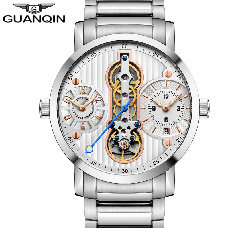 GUANQIN Mechanical Watches Men Top Brand Luxury Creative Mens Watches Water Resistant Calendar Luminous Auto Date Wristwatches guanqin men auto mechanical watch water resistance luminous pointer date 24 hour display transparent back cover wristwatch