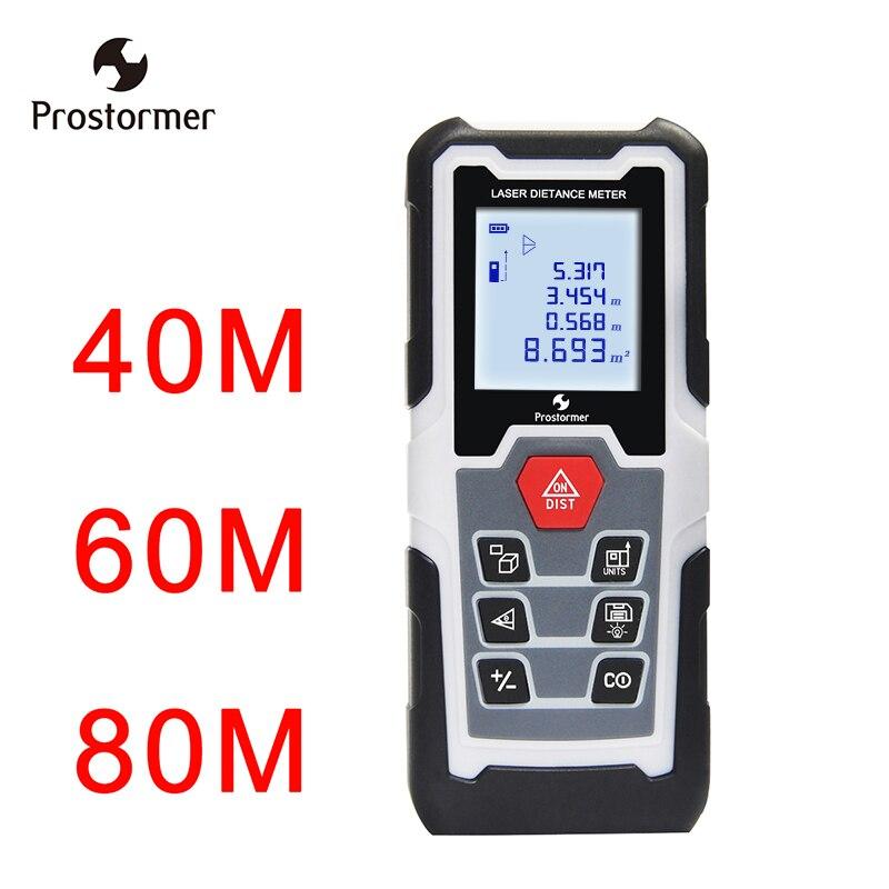 Prostormer 40 m 60 m 80 m Laser mètre de distance Trena ruban à mesurer medidor Multifonction Laser règle Télémètres Numérique Distance