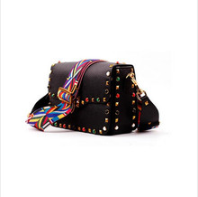 2016 New genuine leather rock color stud handbags women fashion color rivets shoulder bags easy matching for valentines