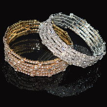 Mewah 7 Warna Gelang Kristal Wanita Gold/Perak Gelang Bride Rhinestone Stretch Gelang Pesta Bridesmaid Hadiah Perhiasan(China)