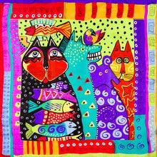 Шелковый шарф, женский шарф, кошка и рыба, шейный платок, шелковый шарф, бандана, платок, животное, маленький квадратный шелковый шарф, роскошный подарок