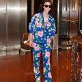 Верхняя одежда Верхняя одежда Женщин и Мужчин Случайные 2 Шт. Брюки Набор Блузка + Длинные Брюки Цветочные Печатный Красочный Наряд Костюм