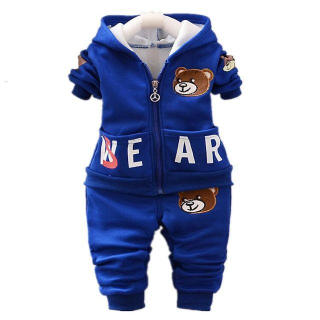 2016 новых детей дети мальчик осенью и зимой одежда набор 3 шт.. Куртка с капюшоном Костюм Осень Плюшевый Мишка