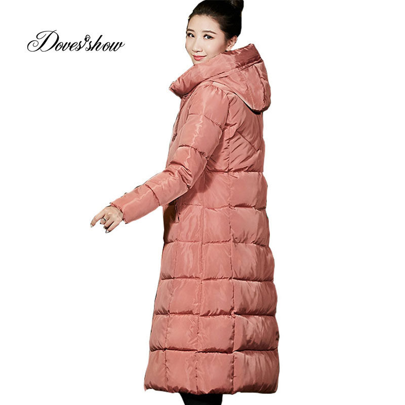 Hooded Winter   Down     Coat   Jacket Long Warm Women Cotton-padded Casaco Feminino Abrigos Mujer Invierno Wadded Parkas Outwear   Coat